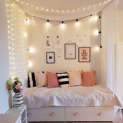 Đèn dây trang trí phòng ngủ vô cùng ấn tượng